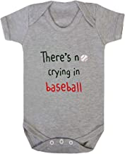 There's No Crying in Baseball Baby Bodysuit One Piece Oxford Gray 6 Months