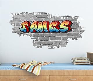 comprar comparacion Diseño de grafiti de ladrillos personalizable y texto adhesivo decorativo para pared 95 cm (W) x 46 cm (H), tr34b/W