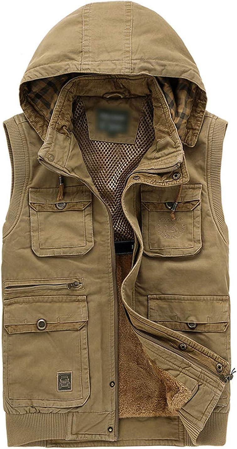 Flygo Men's Outdoor Sports Hooded Sherpa Lined Multi Pockets Fishing Safari Travel Work Vest Jacket