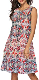 KYLEON Women Dresses Vintage Boho Printed Pockets Dress Swing Beach Evening Short Mini Dress Summer Tank Casual Sundress