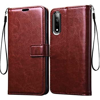 Coverage Vintage Leather Flip Cover for Vivo S1 - vivo 1907 - Executive Brown