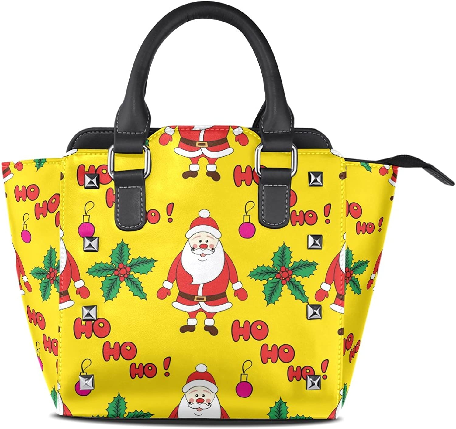 Sunlome Cartoon Christmas Father Santa Claus Print Handbags Women's PU Leather Top-Handle Shoulder Bags