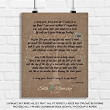 Personalized Gift for Mother of Bride Parents Faux Burlap Turquoise I Carry Your Heart E. E. Cummings - 8x10 Unframed Paper Art Print