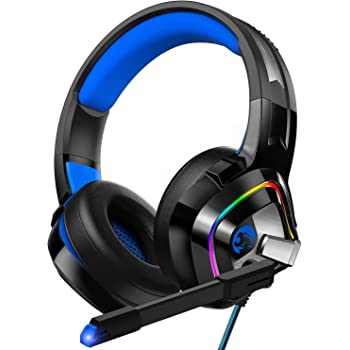 ZIUMIER Gaming Headset PS4 Headset, Xbox One Headset with Noise Canceling Mic and Rgb Light, PC Headset with Stereo Surround Sound, Over-Ear Headphones for PC, PS4, Xbox One, Laptop