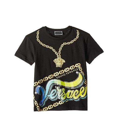 Versace Kids Short Sleeve Medusa Necklace Graphic T-Shirt (Toddler/Little Kids)