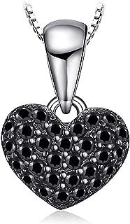 Colgante Amor corazón 0.14ct genuino Espinela en Plata de ley 925 cadena de caja 45cm