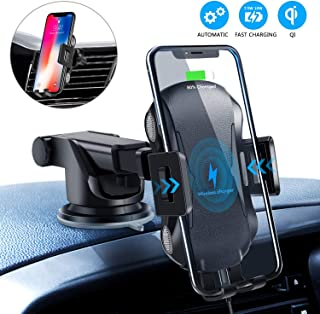 Wireless Car Charger, 10W Qi Fast Charging Auto-Clamping Car Mount,Windshield Air Vent Phone Holder for iPhone 11/11 Pro/11 Pro Max/Xs MAX/XS/XR/X/8/8+,Samsung S10/S10+/S9/S9+and More