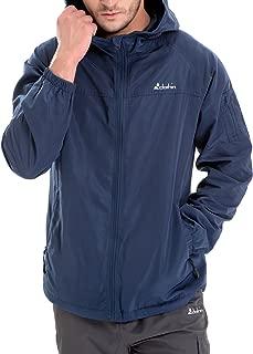 Men's 6-Pocket Hooded Zip-Up Windbreaker Travel Jacket, Water and Wind-Resistant