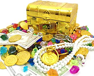 200+ Pirate Treasure Chest Gold Coins Treasure and Pirate Gems Pirates Rings Earrings Pearls Jewelery Playset ,Treasure for Pirate Party (100 Coins+100 Gems+16 banknotes.)