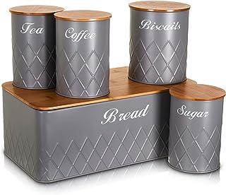 LIVIVO - Juego de 5 recipientes de almacenamiento para té, café, azúcar, galletas