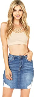 Wax Women's Juniors High Rise Raw Hem Denim Mini Skirt + Free Bra
