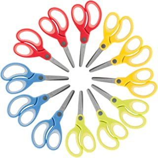 "Kids Scissors 5"" - 12 Pack - School Pack of Scissors for Kids Age 3 and up, Assorted Colors (Blunt Tip)"
