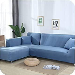 Grey Color Tight Wrap Sofa Cover Elastic Needs Order 2 Pieces Sofa Cover If L Style Sectional Corner Sofa,Light Blue,1seater and 2seater