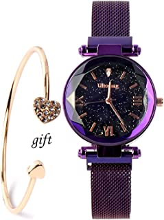 Luxury Quartz Starry Sky Dial Ladies Wrist Watches,Magnetic Mesh Band Watch and Bracelet Set-Valentine's Day Christmas Gift