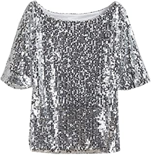 Coolred Women's Lounge Sequin Loose Short Sleeves Embroidery Top Blouse