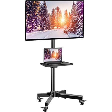 Mobile TV Cart with Wheels for 23-55 Inch LCD LED 4K Flat Curved Screen TVs - Height Adjustable Shelf Trolley Floor Stand Holds up to 55lbs - Movable Monitor Holder with Tray Max VESA 400x400mm