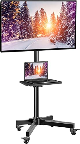 Mobile TV Cart with Wheels for 23-55 Inch LCD LED 4K Flat Curved Screen TVs - Height Adjustable Shelf Trolley Floor S...