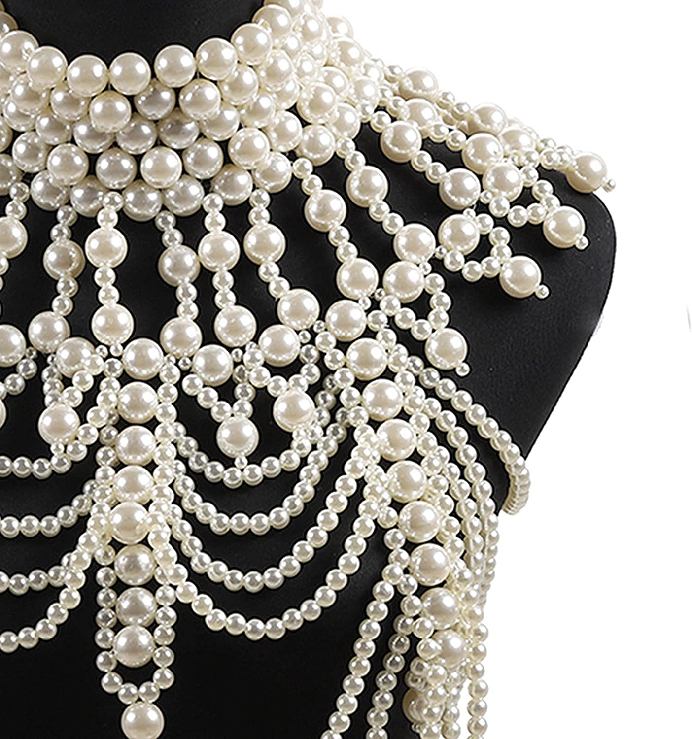 HLONGG Pearl Necklace Choker Shoulder Chains, Shoulder Body Chain Harness Pearl Beaded Tassel Necklace Collar Body Chain Long Necklace Necklace Costume Jewelry,White
