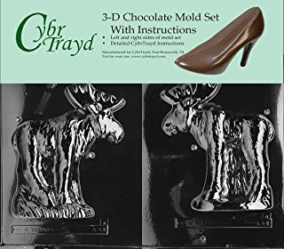 Cybrtrayd 45StK25S-A074 Moose Lolly Animal Chocolate Candy Mold with Lollipop Supply Kit