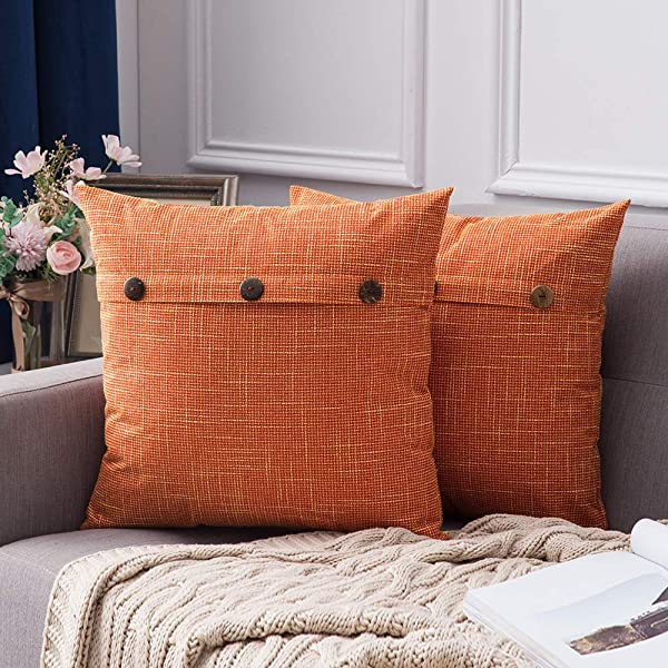 MIULEE Set Of 2 Linen Throw Pillow Covers Cushion Case Triple Button Vintage Farmhouse Pillowcase For Couch Sofa Bed 20 X 20 Inch 50 X 50 Cm Orange