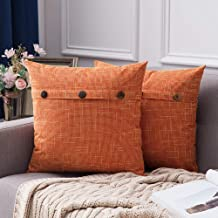 Best MIULEE Set of 2 Linen Throw Pillow Covers Cushion Case Triple Button Vintage Farmhouse Pillowcase for Couch Sofa Bed 20 x 20 Inch 50 x 50 cm Fall Orange Review