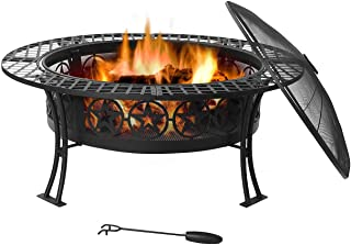 Sunnydaze Four Star Fire Pit Table - Outdoor Wood Burning Fire Pit - Large 40 Inch Round Patio Fireplace - Portable Pit for Outside Use - Durable Spark Screen