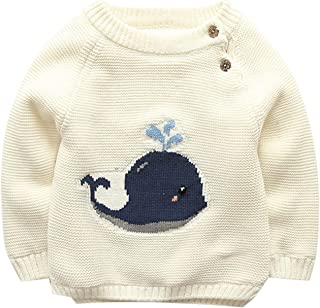 Baby Boys Girls Cable Knit Pullover Sweater Fleece Lined Jumpers Cartoon Sweatshirt