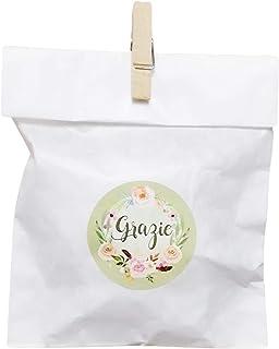 20 kit Confettata, sacchetti carta bianca pergamenata, 10x16 centimetri, mollette, adesivi grazie, bustine, sacchetti conf...