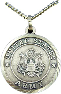 Nickel Silver Patron Saint Michael United States Army Medal Pendant, 1 3/8 Inch