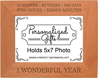 1st Funny 1 Wonderful Year Natural Wood Engraved 5x7 Landscape Picture Frame Wood