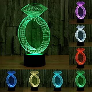 Kid Nights Lights Diamond Ring Style USB Charging 7 Colour Discoloration Creative Visual Stereo Lamp 3D Touch Switch Control LED Light Desk Lamp Night Light, Product Size: 24.7 x 12.8 x 8.7 cm