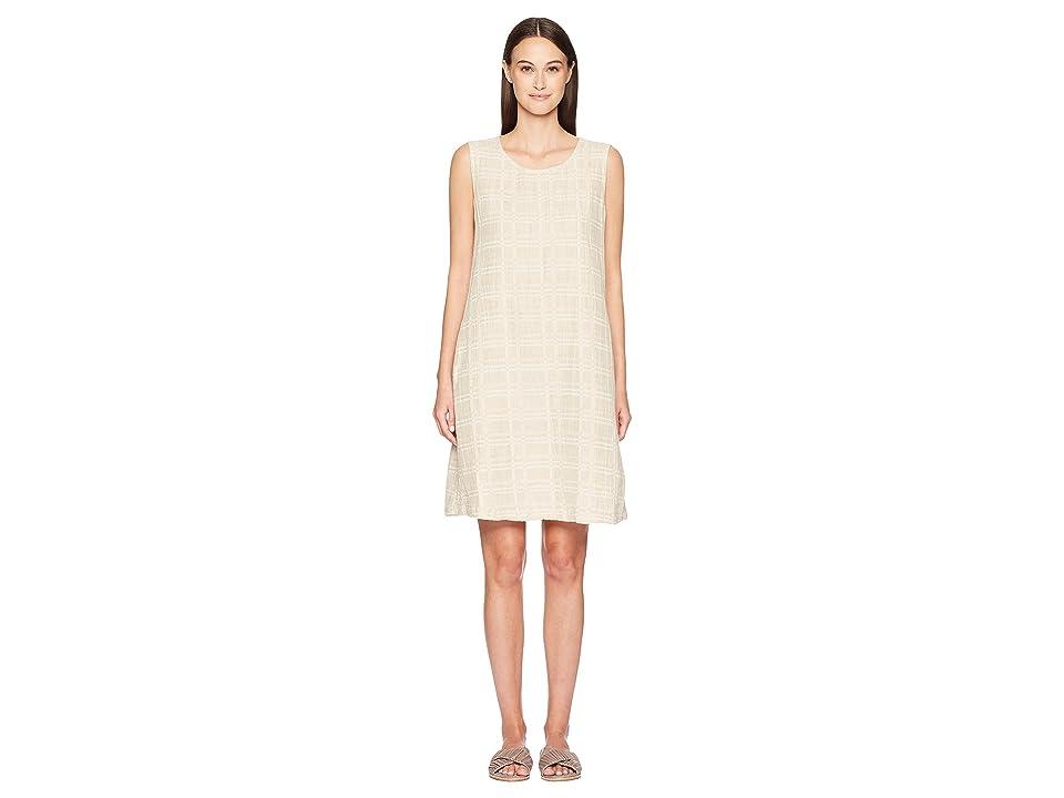 Eileen Fisher Jewel Neck Shift Dress (Natural) Women