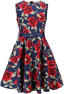J·E Sterguard Girls Flower Dresses Kids Printed Twirl Party Casual Dresses 6-12 Years