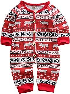 Newborn Baby Boy Girl Jumpsuit Clothes Christmas Bodysuit One-Pieces Cotton Long Sleeve Romper