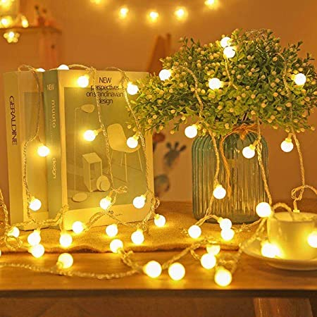 Koxly Globe String Lights 49 Ft 100 LED Waterproof Decoration Light Strings Plug in Fairy Lights with Remote Control for Indoor Outdoor Bedroom Christmas Party Xmas Tree