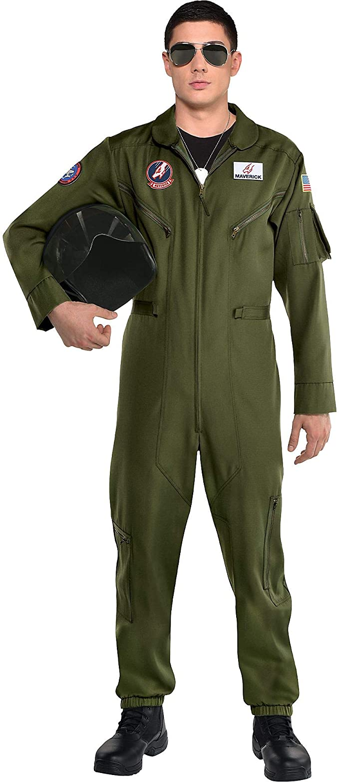 90s Outfits for Guys | Trendy, Party, Cool, Casaul Party City Top Gun: Maverick Flight Costume for Men Halloween Olive Green Jumpsuit with Zipper  AT vintagedancer.com