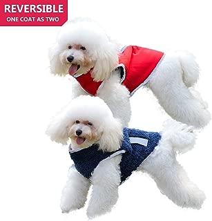 Comfortland Reversible Dog Jacket Reflective Winter Dog Rain Coat Fleece Vest for Pets Cold Weather Warm Dog Vest Waterproof Dog Clothes for Small Medium Large Dogs