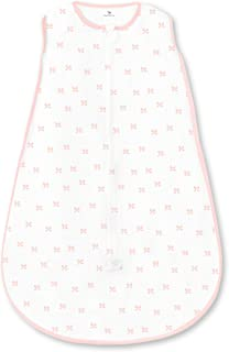 Amazing Baby Cotton Sleeping Sack with 2-Way Zipper, Tiny Bows, Pink, Large