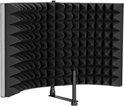 AGPTEK Microphone Isolation Shield, Foldable Adjustable Durable Studio Recording Microphone Isolator Panel for Stand Mount or Table Top-Extra Large Size