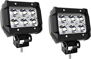 2Pcs Spot 4In Pods Cube Led Driving Fog Lights Bumper Grill Off Road Backup Reverse Work Lights Auxiliary Driving Headlights for Truck Pickup Jeep SUV ATV UTV Tractor Boat