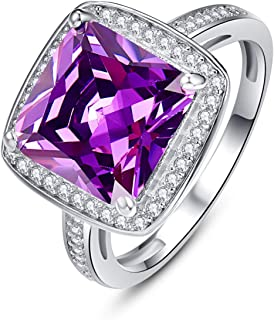 Halo Anniversary Rings for Women Princess Cut Created Amethyst February Birthstone Cubic Zirconia 925 Sterling Silver