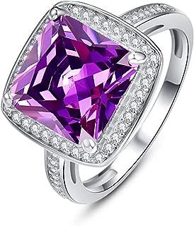 BONLAVIE Halo Anniversary Rings for Women Princess Cut Created Amethyst February Birthstone Cubic Zirconia 925 Sterling Silver