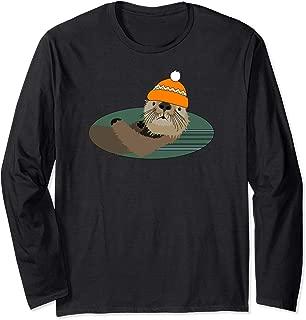 Otter Wearing an Orange Beanie Hat Long Sleeve Shirt