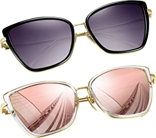 Oversized Cateye Sunglasses for Women, Fashion Metal Frame Cat Eye Womens Sunglasses