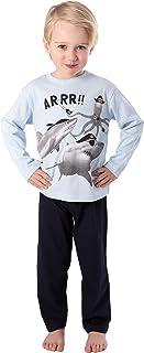 Pijama de dos piezas de algodón largo para niños, pijama de piratas de tiburón