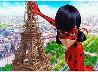 Miraculous Ladybug Birthday Background 7x5ft Vinyl Photo Backdrop Baby Shower Paris Eiffel Tower Photography Backgrounds Cake Table Party Decoration Personalized Name