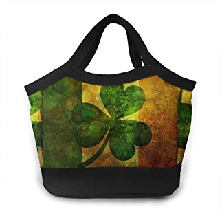 NiYoung Fashion Reusable Insulated Lunch Tote Bag Aluminum Foil Thermal Cooler Lunch Box Travel Work School Picnic Zipper Organizer Bento Pouch (Flag of Ireland Retro)