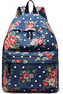Miss Lulu School Backpacks Canvas Bookbag Cute Printed Leisure Backpack for Teenage Girls (1401F Navy)