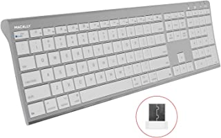 Macally RF Wireless Computer Keyboard (Full-Size) with Compact 2.4GHz Dongle USB Receiver for Apple MacBook Pro, Air Laptops or iMac, Mac Mini Desktops - Plug and Play (Ultra-Slim)