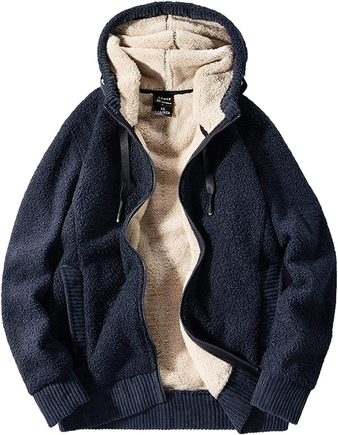 Time sale Gihuo Men's Winter Sherpa Lined Hoodie Ja Zip Sweatshirt Many popular brands Warm Up
